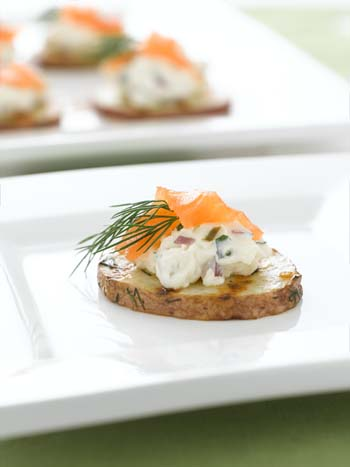 Grilled Potato and Smoked Salmon Canapes