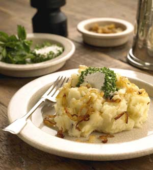 Caramelized Onion Potato Mash Mounds with Herbed Goat Cheese